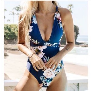 Floral Print One Piece Bathing Suit Sz Large